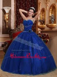 royal blue ball gown sweetheart floor length tulle beading