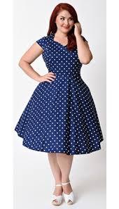 plus size 1950s style navy u0026 white polka dot swing dress pin up