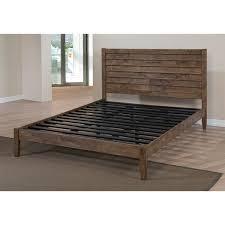 queen platform bed reclaimed wood headboard rustic vintage bedroom