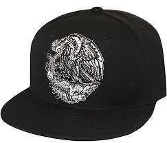 Mexican Flag Eagle Mexican Golden Eagle Embroidered Flat Bill Snapback Cap Black At