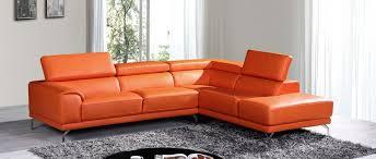 Orange Leather Sectional Sofa Divani Casa Wisteria Modern Orange Leather Sectional Sofa W Right
