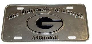 uga alumni car tag of pewter alumni car tag
