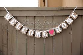 welcome home decorations hot sale customised welcome home red heart party banner bunting