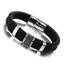 men steel bracelet images Genuine leather bracelet men stainless steel leather braid jpg