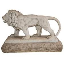 marble lions limestone small animal sculpture by artist brown
