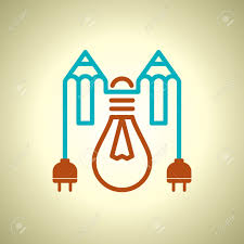 bulb with electric plug and pencil royalty free cliparts vectors