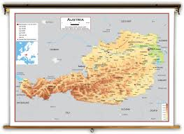 World Map Austria by Austria Physical Educational Wall Map From Academia Maps