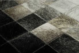 Leather Area Rug Gradient Patchwork Cowhide Rug In Squares Shine Rugs