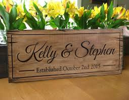 wedding gift name sign rustic wood sign personalized distressed carved name sign rustic