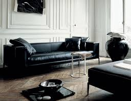 furniture breathtaking modern black leather sofa in living room