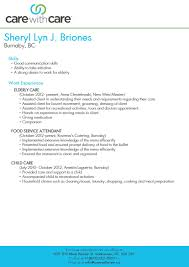 Childcare Resume Templates Ideas Of Senior Caregiver Resume Sample With Service Gallery