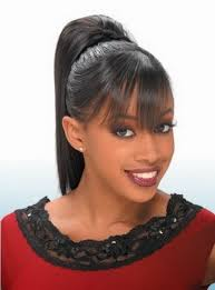photo african american ponytail hairstyles with bangs ponytail