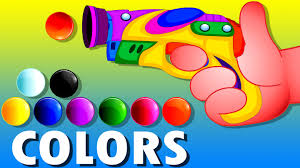 learn colors with gun game teach colours baby children kids
