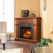 amesbury 45 75 in w faux stone corner electric fireplace in