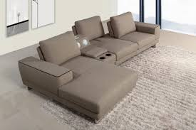 grey fabric modern living room sectional sofa w wooden legs gatsby modern fabric sectional sofa w beverage console and