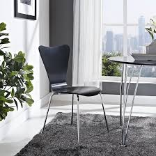 two tone modern dining chairs using white vinyl seat and black