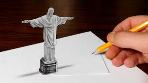 drawing christ the redeemer statue optical illusion youtube