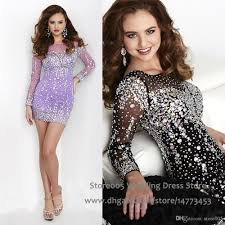 new years short mini cocktail party dresses long sleeve crystal