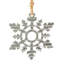 corrugated galvanized metal snowflake ornament tin cutouts