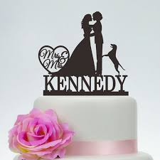 personalized cake topper personalized cake topper with dog silhouette mrs and mrs