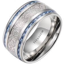 blue titanium wedding band 10mm meteorite inlay titanium wedding ring with blue carbon fiber