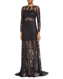 jovani long sleeve sheer lace gown in black lyst