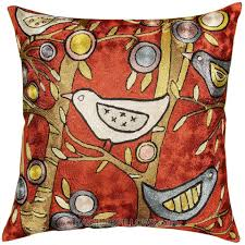 klimt tree of life birds red accent cushion cover burgundy sofa