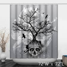 grey skull tree of bathroom shower curtain custom shower