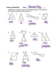 geometry congruent triangles practice worksheet answer key by