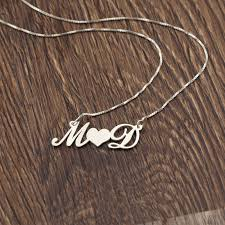 necklace with kids initials personalized 2 initials heart necklace silver name necklace custom