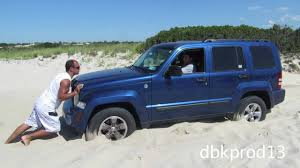 beach jeep diesel jeep liberty crd pulling out stuck jeep on beach youtube