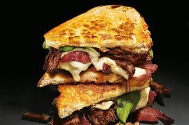 grilled cheese and short rib sandwiches with pickled caramelized