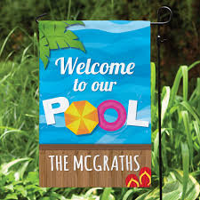 Decorative Garden Flags Welcome To Our Pool Personalized Garden Flag Personalized Planet