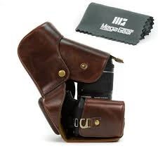 amazon com megagear ever ready brown leather camera case for eos