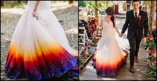 wedding dresses with a dip dyes wedding gown to add an splash of