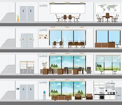 plan des bureaux immeuble de bureaux coupé avec le plan de développement intérieur
