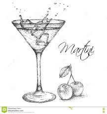 martini vector hand drawn martini cocktail in glass with cherry vector