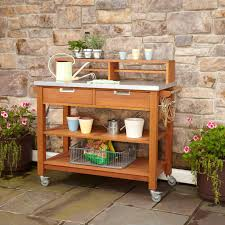Rust Sofa Rust Resistant Steel Top Potting Bench Work Table With Locking