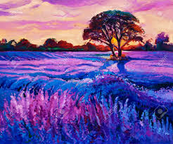 original oil painting of lavender fields on canvas rich purple