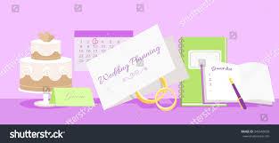 Marriage Planner Wedding Planning Design Flat Fashion Wedding Stock Vector