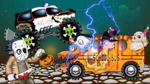 monster truck cartoon videos bus vs police car videos for kids halloween scary