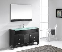 55 Inch Bathroom Vanities by Virtu 55 Inch Ava Tempered Glass Countertop Bathroom Vanity Espresso