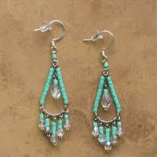 Beaded Turquoise Chandelier Beaded Chandelier Earrings Handcrafted Bead Jewelry Turquoise