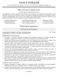 health care coordinator resume 10366