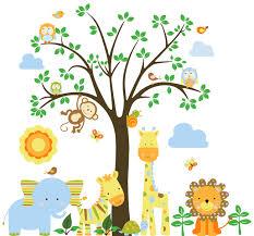 Monkey Wall Decals For Nursery by Vinyl Wall Decal Mural Giraffe Elephant Lion Monkey Nursery