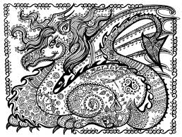 printable coloring dragon instant download door chubbymermaid