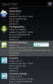 android contact manager how to find apk file package name and launcher activity name