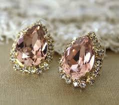 big stud earrings pink big teardrop stud earring 14k plated gold post