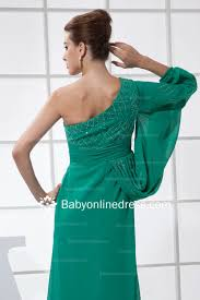 beading green long sleeve bridesmaid gowns empire one shoulder