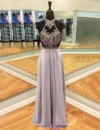 buy a line round neck long light lavender open back prom dress